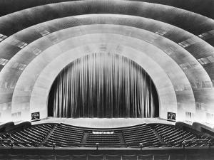 Overall View of Stage and Proscenium of Radio City Music Hall.