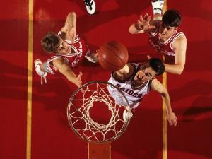Overhead View of Boys High School Basketball Action