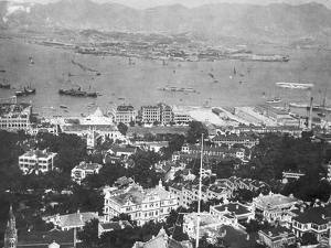 Overhead View of Hong Kong Harbor