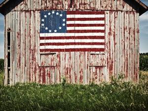 American flag painted on barn by Owaki
