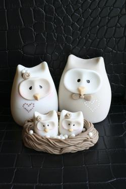 Owl Family Taupe