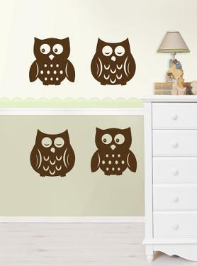 Owl Silhouettes Espresso Brown Wall Decal Sticker