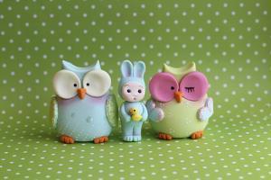Owls and Tiny Boy Bunny