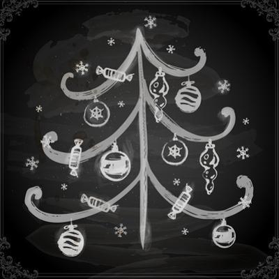 Doodle Christmas Tree with Balls for Xmas Design by Ozerina Anna