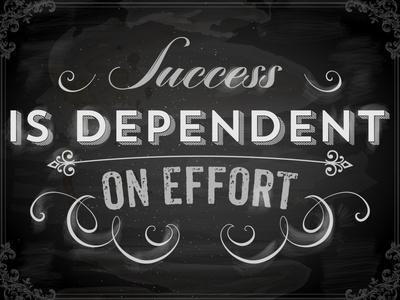 Quote Typographical Background, Vector Design. Success is Dependent on Effort. Chalkboard Style.