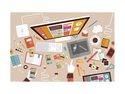 Set of Flat Design Icons. Mobile Phones, Tablet Pc, Marketing Technologies, Mobile Apps, Email, Vid