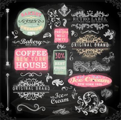 Set of Vintage Chalkboard Bakery Logo Badges and Labels for Retro Design. Chalkboard Illustration V by Ozerina Anna