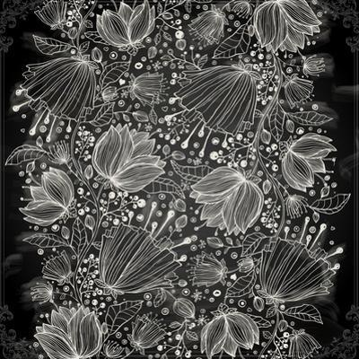 Stylish Floral Background, Hand Drawn Retro Flowers by Ozerina Anna
