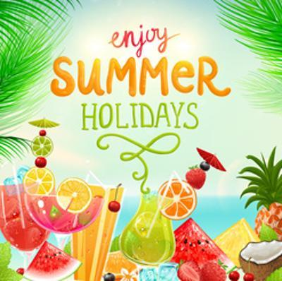 Summer Holidays Set With Cocktails, Palms, Sun, Sky, Sea, Fruits And Berries by Ozerina Anna