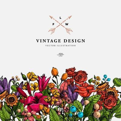 Vintage Vector Card with Engraving Flowers. Graphic Floral Style. Apple, Lilac, Peach, Sunflower, R