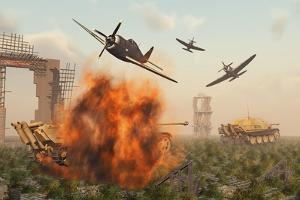 P-47 Thunderbolts Attacking German Jagdpanther Tanks During World War Ii
