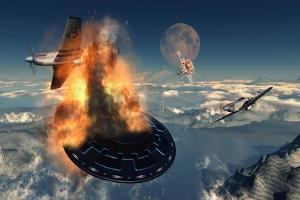 P-51 Mustangs Attacking a Flying Saucer