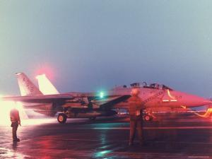 Aircraft Carrier Directing Fighter Aircraft in US Led Allied Desert Storm Gulf War Mission by P. Cichonowicz