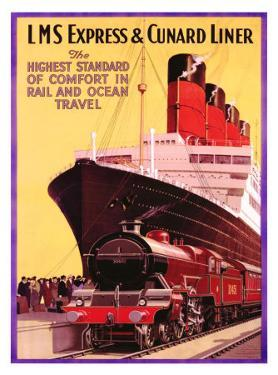 LMS Express and Cunard Liner by P^ Erwin Brown