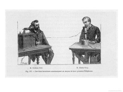 Imaginary Conversation Between Alexander Graham Bell and Elisha Gray Using Their Telephone Devices
