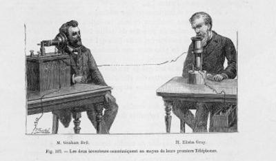 Imaginary Conversation Between Alexander Graham Bell and Elisha Gray Using Their Telephone Devices by P. Fouche