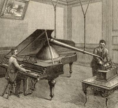 Recording a Man Playing the Piano Using Edison's Improved Model Phonograph by P. Fouche