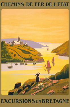 Excursions en Bretagne (Excursions to Brittany) - French State Railways by P. Ladureau