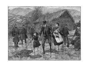 Scene at an Irish Eviction in County Kerry, 1887 by P Naumann