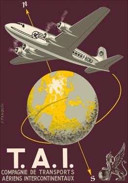 TAI Airline (Transports Aeriens Intercontinenteaux) - Douglas DC-4E Airplane by P. Praquin