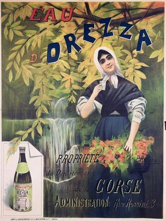 Poster Advertising 'Eau D'Orezza', Natural Mineral Water
