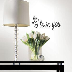P.S. I Love You with Heart Single Sheet Peel and Stick Wall Decals