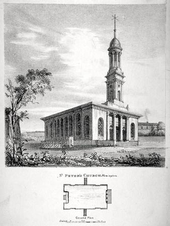 View and Ground Plan of the Church of St Peter Newington, Southwark, London, 1824