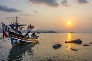 Longtail Boats on the Beach, Sunrise in the Bo Phut Beach, Island Ko Samui, Thailand, Asia by P. Widmann