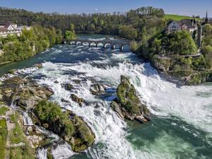 The Rhine Falls with Castle Running, with Schaffhausen, Canton Schaffhausen, Switzerland, Europe by P. Widmann