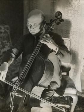 Pablo Casals, the Great Cello Player in His Home in Barcelona