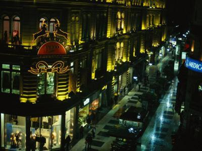 A Buenos Aires Shopping District at Night