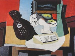 Guitar, Glass and Fruit by Pablo Picasso