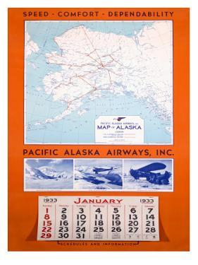 Pacific Alaska Airways Airline Poster
