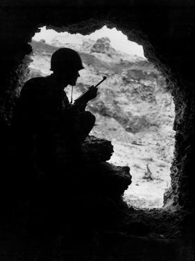 Pacific Front During Okinawa Battle, April-June 1945 : Us Marines Sights on a Japanese Sniper