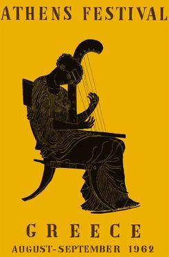 1962 Athens Festival - Greece - Greek Epigonion Musician 440 B.C. by Pacifica Island Art