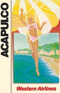 Acapulco Mexico - Parasailing Bikini Blonde - Western Air Lines by Pacifica Island Art