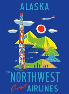 Alaska - Fly Northwest Orient Airlines by Pacifica Island Art