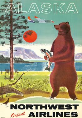 Alaska - Northwest Orient Airlines - Kodiak Alaskan Brown Grizzly Bear by Pacifica Island Art