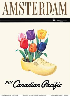 Amsterdam, Holland - Dutch Tulips in a Wooden Clog by Pacifica Island Art