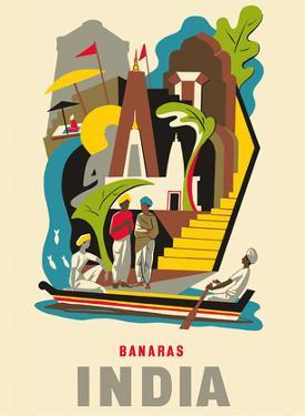 Banaras (Varanasi) - India - Dashashwamedh Ghat, Ganges River by Pacifica Island Art