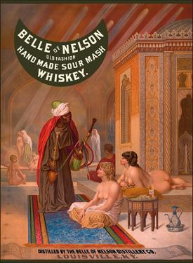 Belle of Nelson Whiskey - Old Fashion Hand Made Sour Mash - Nude Women in Turkish Harem by Pacifica Island Art