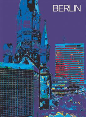 Berlin, Germany - The City at Night - Kaiser Wilhelm Memorial Church by Pacifica Island Art
