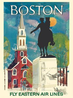 Boston, Massachusetts - Fly Eastern Air Lines - Paul Revere Statue and Old North Church by Pacifica Island Art