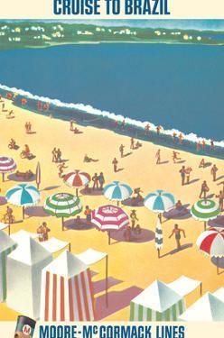 Brazil - Brazilian Beach Resort - Moore-McCormack Lines by Pacifica Island Art