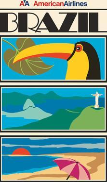 Brazil - Christ the Redeemer Statue - American Airlines by Pacifica Island Art