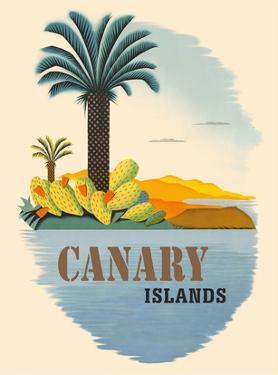 Canary Islands - Palm Trees and Cactus by Pacifica Island Art