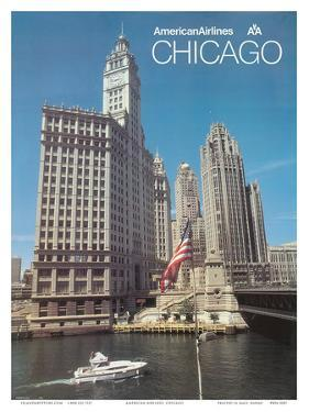 Chicago, Illinois - American Airlines by Pacifica Island Art
