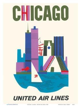 Chicago, Illinois - United Air Lines by Pacifica Island Art