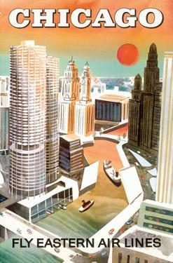 Chicago, USA - Marina City, Chicago River - Fly Eastern Airlines by Pacifica Island Art