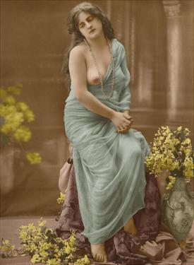 Classic Vintage French Nude - Hand-Colored Tinted Art by Pacifica Island Art